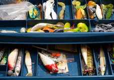 Colored fishing tackles in the special box Royalty Free Stock Photography