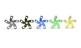 Colored five hand fidget spinner, 3d render Stock Image