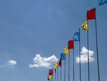Colored flags 2. Flags on sky background 2 Royalty Free Stock Photo