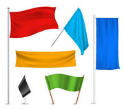 Colored flags banners icons composition. Various colors flags and banners pictograms collection with black racing and blue half-staff hoisted abstract vector Stock Photo