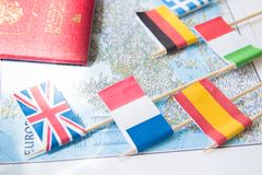 Colored flags of Europian countries on a map: France, Italy, England UK, Spain, Greece, travel destination planning concept.  stock images