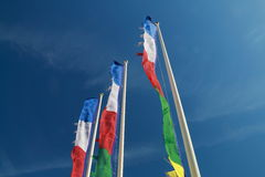 Colored flags fluttering. In horizontal image Royalty Free Stock Photo