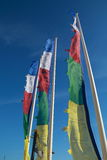Colored flags fluttering. In vertical image Royalty Free Stock Images