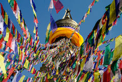 Colored flags hanging from the top of the stupa Bodnath, Kathman. Du Royalty Free Stock Photo