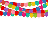 Colored flags on a holiday garland Stock Images
