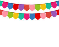 Colored flags on a holiday garland Royalty Free Stock Photography
