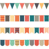 Colored flags on a rope, vector. Colored flags of different shapes on a rope on white background, vector illustration. Seamless pattern Royalty Free Stock Photo