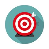 Colored flat circle with arrow and shadow. Illustration of targe Stock Photography