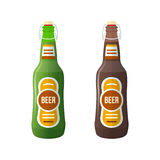 Colored flat couple beer bottles lightning stopper illustration Royalty Free Stock Photos