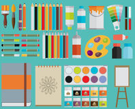 Colored flat design vector illustration icons set. Of art supplies, art instruments for painting, drawing, sketching  on bright stylish background Stock Images