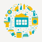Colored flat icons of cleaning service in circle for web banners Royalty Free Stock Photography