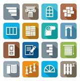 Colored flat icons construction, repair, finishing materials. Colorful, flat, simple icons construction materials for finishing work and repairs. For printing Stock Photos