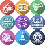 Colored flat icons for diving. Set of round colorful flat icons with white silhouette diving outfit and accessory on white background. Long shadow design Royalty Free Stock Image