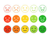 Colored flat icons of emoticons.Different emotions, moods. Stock Images