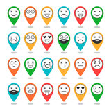 Colored flat icons of emoticons on pins. Smile with a beard, different emotions, moods. Vector Stock Image
