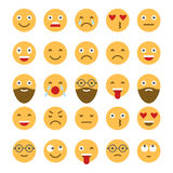 Colored flat icons of emoticons. Smile with a beard, different emotions, moods. Royalty Free Stock Photos