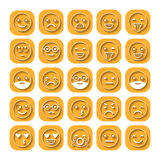 Colored flat icons of emoticons. Smile with a beard, different emotions, moods. Royalty Free Stock Images