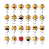 Colored flat icons of emoticons. Smile with a beard, different emotions, moods. Vector Royalty Free Stock Images