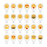 Colored flat icons of emoticons. Smile with a beard, different emotions, moods. Vector Royalty Free Stock Photos