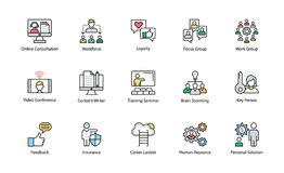 Business Management Flat Icons Collection. A colored flat icons set of business management with all related icons. A wide range including financial aspects Royalty Free Stock Photos