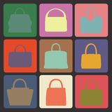 Colored flat icons with silhouettes of  fashion women's handbag Stock Photo
