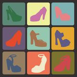 Colored flat icons with silhouettes of  high-heeled shoes Royalty Free Stock Photos