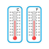Colored flat icons of thermometers for weather. Scale Celsius, Fahrenheit. Stock Photography