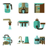 Colored flat icons for water filters Royalty Free Stock Photo