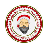 Colored flat logo daring hipster Santa Claus Royalty Free Stock Image