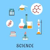 Colored flat science and medical icons. With research books, distillation, atomic structure, experiments, flasks and bunsen burner Stock Photo