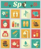 Colored flat spa icons Stock Photos