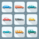 Colored flat style various body types of cars icons collection. Vector colored flat body types cars classification icons set sedan saloon hatchback station wagon Royalty Free Stock Images