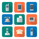 Colored flat style various phone devices icons set Stock Photography