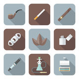 Colored flat style various tobacco goods tools icons set Stock Photography