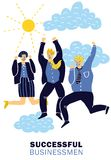 Success Businessmen Poster. Colored flat success businessmen poster with three happy colleagues celebrate the victory vector illustration Royalty Free Stock Images
