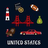 Colored flat travel United States icons Royalty Free Stock Image