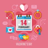 Valentines Day Composition. Colored and flat valentines day composition with romantic elements around this date vector illustration Royalty Free Stock Photo