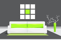 Colored flat vector design with shadow. Living room with sofa, vase and set of pictures on the wall. royalty free illustration