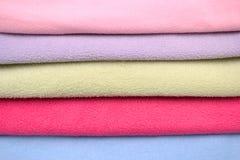 Colored fleece fabric background, pile fleece fabric. Stock Photo