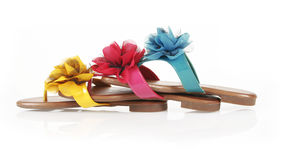 Colored flip-flops with flowers Royalty Free Stock Photos