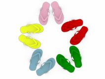 Colored flip-flops isolated on white background Stock Photos