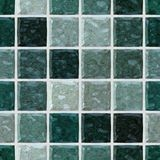 Colored floor marble plastic stony mosaic pattern seamless background with white grout _ dark green colors Stock Photography