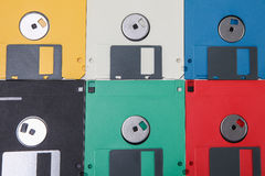 Colored floppy disc background Stock Photos