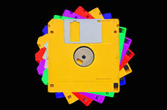 Colored floppy disks. On black background Stock Photography