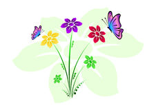 Colored floral background with flowers and butterflies vector illustration