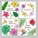Colored Floral Decorative Invitation Cards Set. With exotic flowers and leaves in hand drawn style vector illustration Royalty Free Stock Images