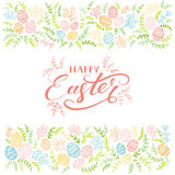 Colored floral elements and lettering Happy Easter on white back Stock Photos