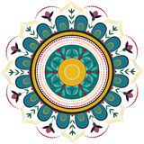 Colored floral mandala royalty free illustration