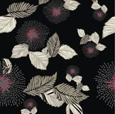 Colored floral pattern. Closeup floral pattern in color black, beige, red and gray Royalty Free Stock Images
