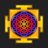 Colored flower of life yantra illustration Stock Photo